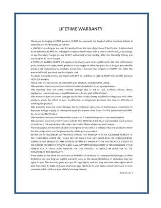 Kempf lifetime warranty